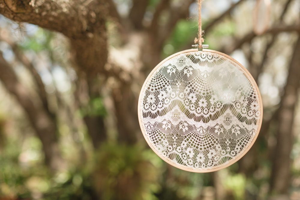DIY wedding details featuring lace and burlap for an intimate backyard wedding in Central Florida