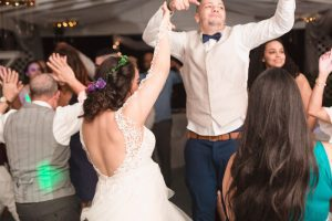 Bride and groom on the dance floor during their outdoor wedding reception in Orlando, Florida