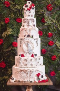 Six tier wedding cake created by top Orlando cake designer Bakers Cottage Cakes
