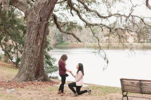 Orlando photographer captures surprise lgbt marriage proposal in the park by the lake in downtown Orlando