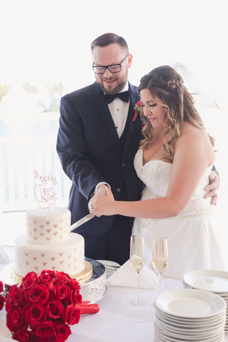 Orlando wedding photographer captures the newlyweds cutting their Disney themed wedding cake