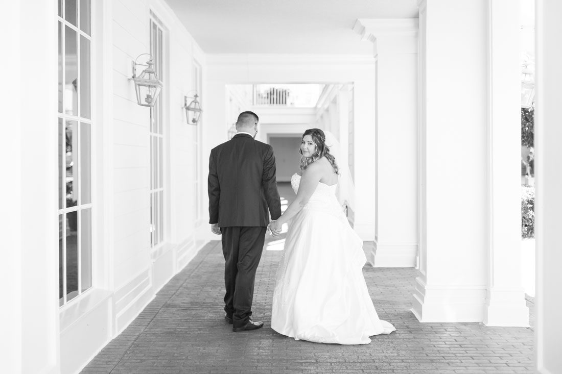Romantic wedding photography in Orlando at the Boardwalk Inn during an escape Disney wedding