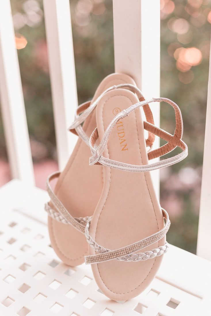 Detail shots of the brides sandals for her Disney wedding day in Orlando, Florida with photography and videography by Captured by Elle