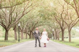 Orlando wedding photographer captures portraits of the newlyweds at Cypress Grove Estate House Park in Central Florida