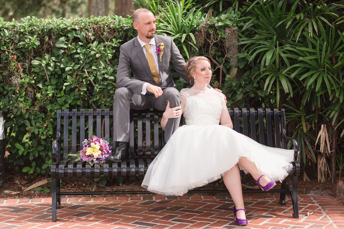Intimate Orlando wedding photography at Cypress Grove featuring the bride in a short tea length dress with a Tangled Disney theme