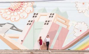 Edgy artsy engagement photography in Orlando featuring colorful murals around Central Florida with an urban feel