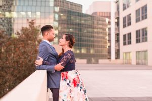 Engagement photography session in Orlando on a rooftop at sunset featuring city views of downtown at the Balcony venue