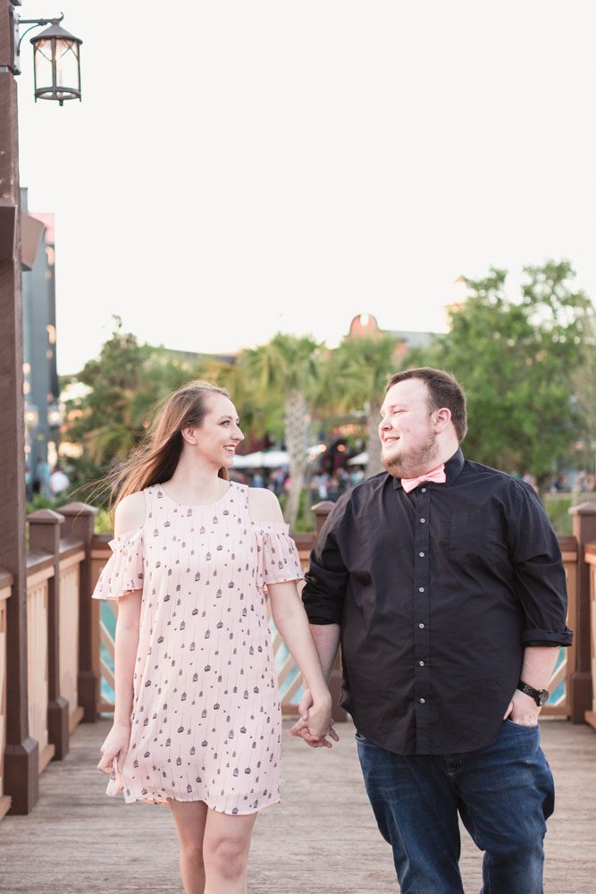 Engagement photography session at Disney Springs in Orlando Florida captured by top wedding photographer