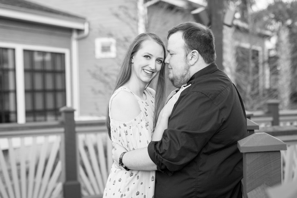 Black and white engagement portrait captured in Disney Springs Orlando