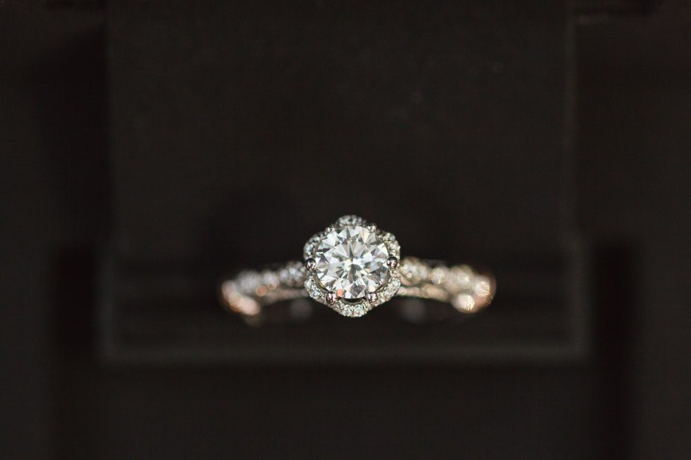 Close up shot of the engagement ring he used to propose during the surprise photography session at Disney