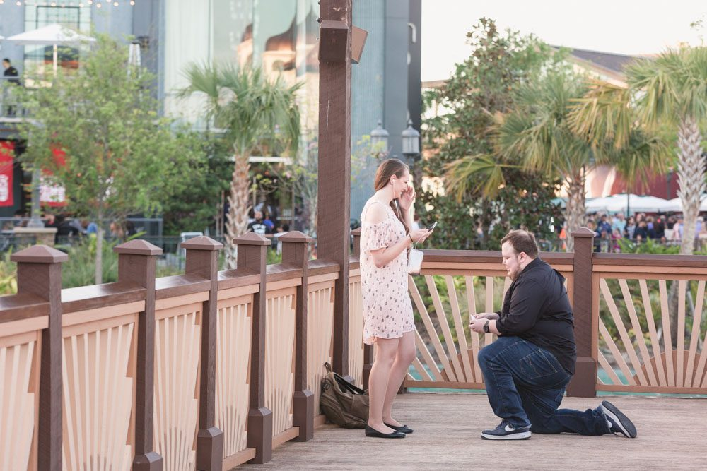 Orlando surprise marriage proposal photography at Disney Springs