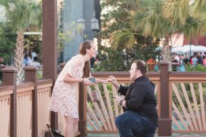 Surprise marriage proposal at Disney Springs captured by top Orlando engagement photographer