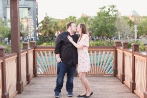 Engagement photo shoot after a surprise proposal photography session in Disney Springs formerly known as Downtown Disney