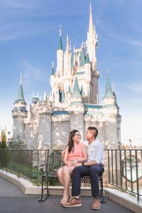 Engagement photography at Disney World in Orlando featuring Cinderella's castle from the back