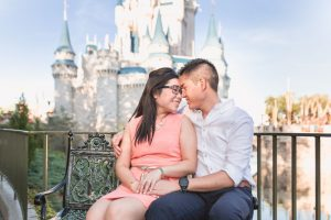 Engagement photography session at Disney's Magic Kingdom park by top Orlando photographer
