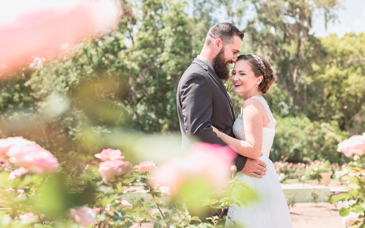 Romantic intimate wedding photo at Leu Gardens captured by top Orlando elopement and wedding photographer and videographer