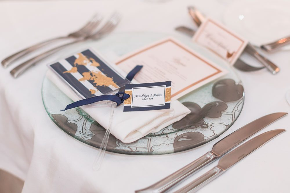 Place setting for a ballroom reception at the Four Seasons in Orlando