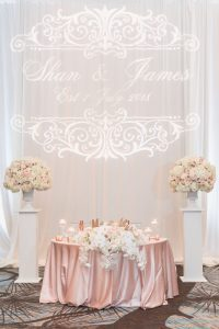 Reception ballroom for a Four Seasons wedding day featuring clear chairs and white, ivory and blush pink decor captured by Orlando wedding photographer