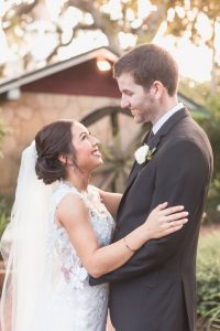 Romantic portrait of the bride and groom at the Estate on the Halifax in Port Orange captured by Orlando photographer