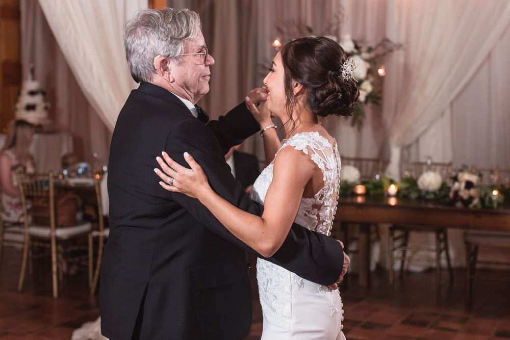 Photo of the bride sharing a first dance with dad during their Estate on the Halifax wedding reception