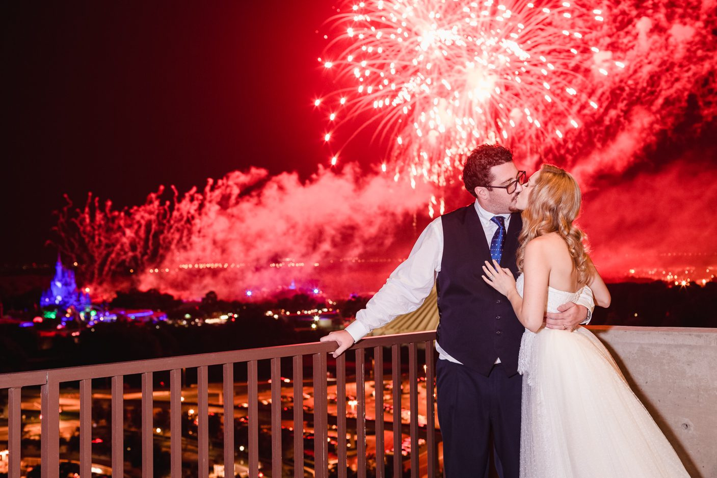 Disney photographer captures fireworks and Cinderella's castle from the California Grill for a wedding in Orlando