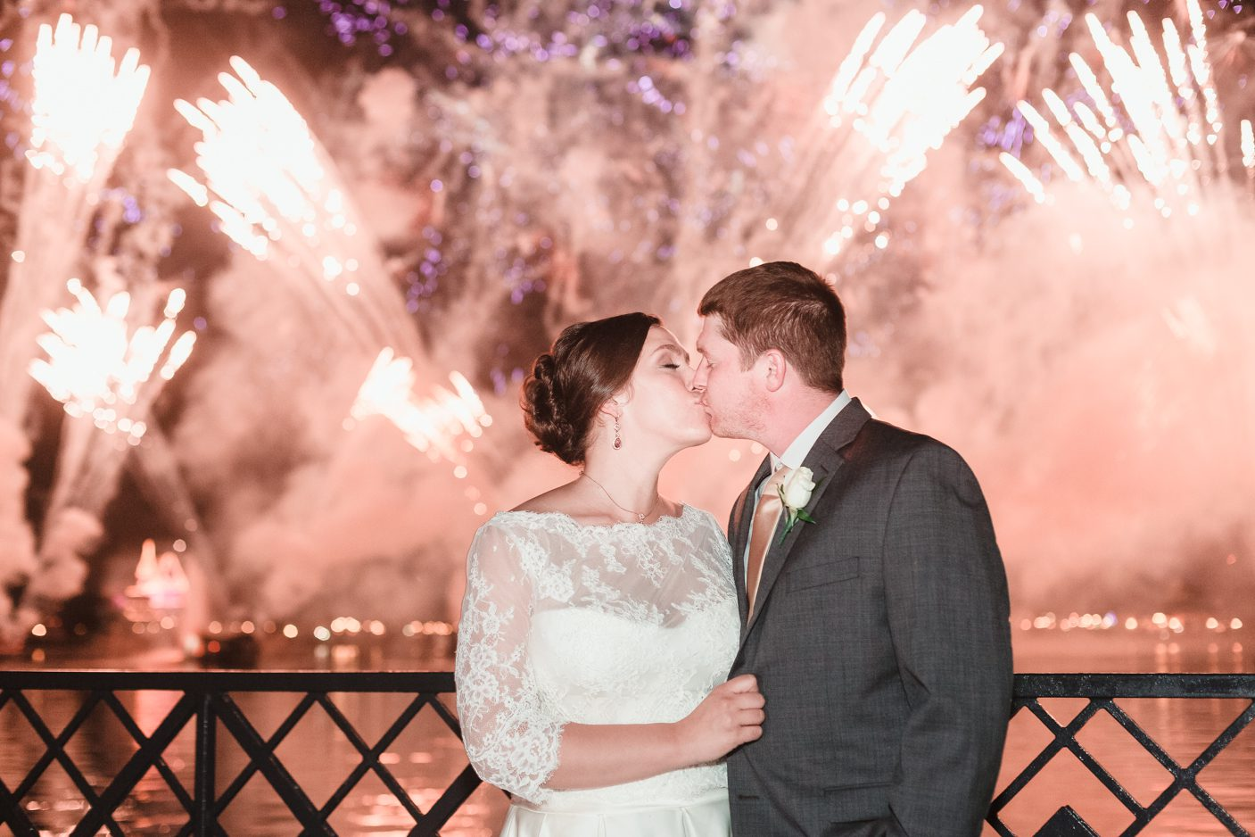 Fireworks at Epcot during a dessert party wedding at Disney in Orlando