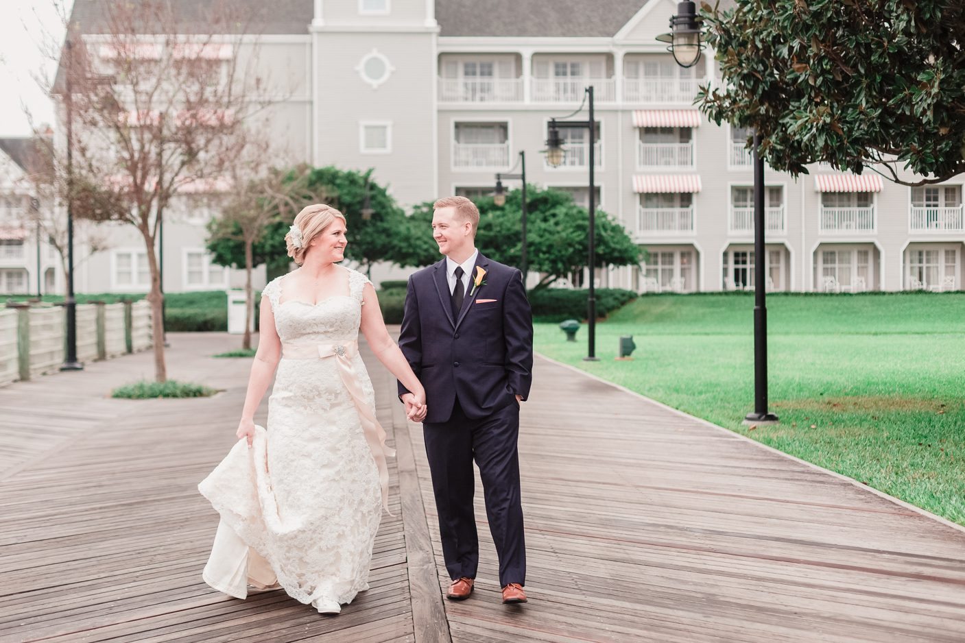 Couple at the Disney beach club after getting married at sea breeze point in Orlando