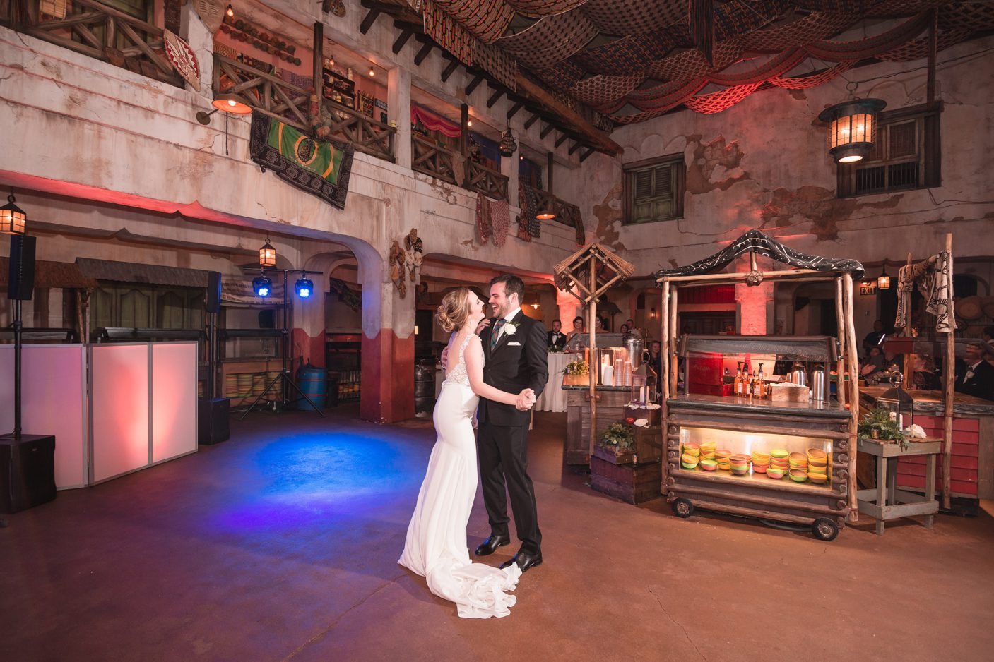 First dance at Tusker Hall in Animal Kingdom at Disney in Orlando for a fairytale wedding by top photographer