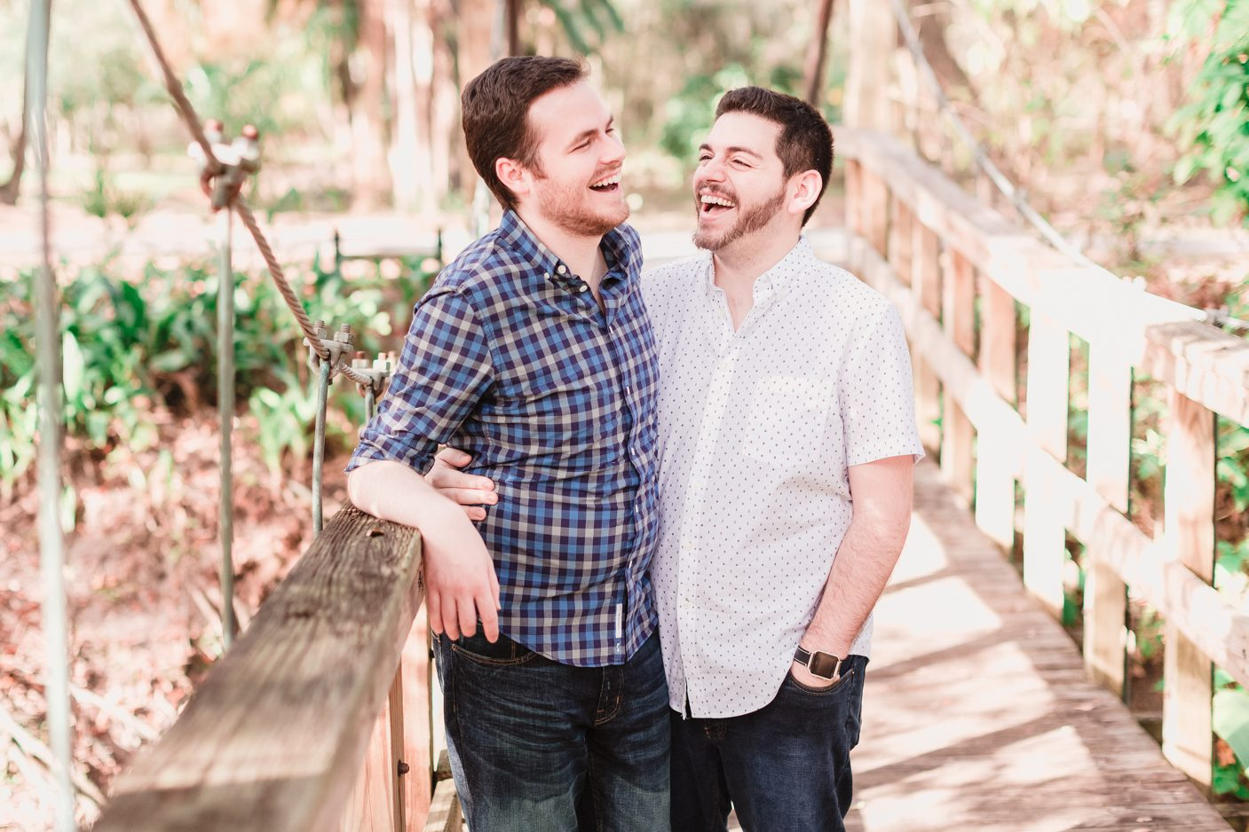 Gay engagement photo featuring two grooms at downtown Orlando