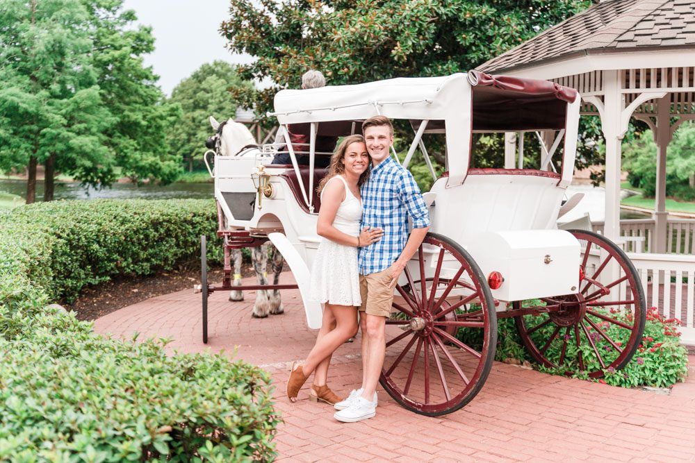 Orlando Engagement photography session at Disney Port Orleans Riverside with a horse and carriage