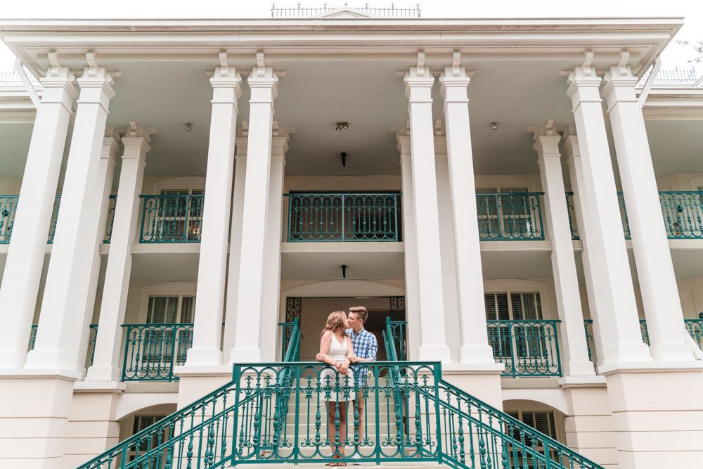 Wide engagement photo at Port Orleans Riverside Disney resort captured by top Orlando photographer