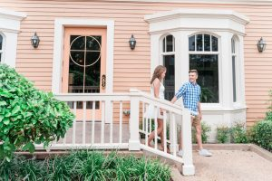 Romantic engagement photo at Disney resort after a surprise proposal in Orlando