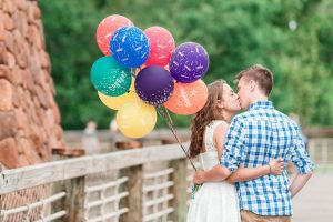 Up movie themed engagement photography session with balloons at Port Orleans in Orlando