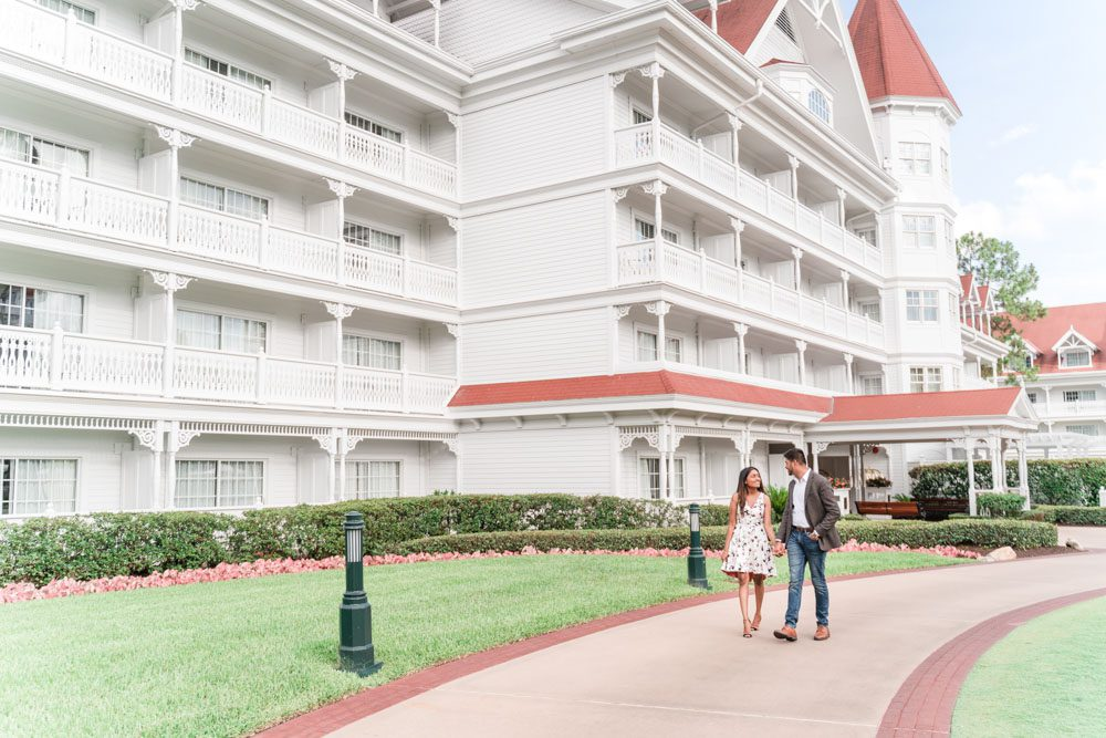 Romantic engagement photography at the Grand Floridian resort following a surprise proposal in Orlando