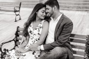 Intimate black and white engagement photo on the dock at the Grand Floridian captured by top Orlando engagement photographer