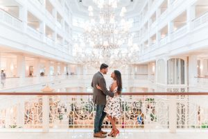 Engagement photography inside the Grand Floridian lobby captured by top Orlando photographers