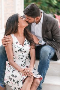 Romantic and fun engagement session photography at picture point at the wedding pavilion at the Grand Floridian Resort in Walt Disney World Orlando