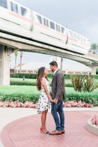 Creative Orlando engagement photography session with the monorail at the Grand Floridian at Disney World