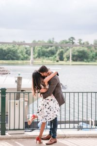 Surprise proposal in Orlando at a disney resort by the yacht