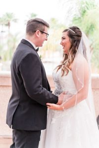 Romantic First look between a bride and groom captured by top Orlando wedding photographer