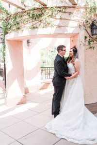 Beautiful and romantic photo of bride and groom during their wedding in Orlando captured by top photographer in Central Florida