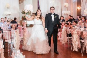 Bride and groom at their wedding reception at the Crystal Ballroom captured by Orlando wedding photographer and videographer