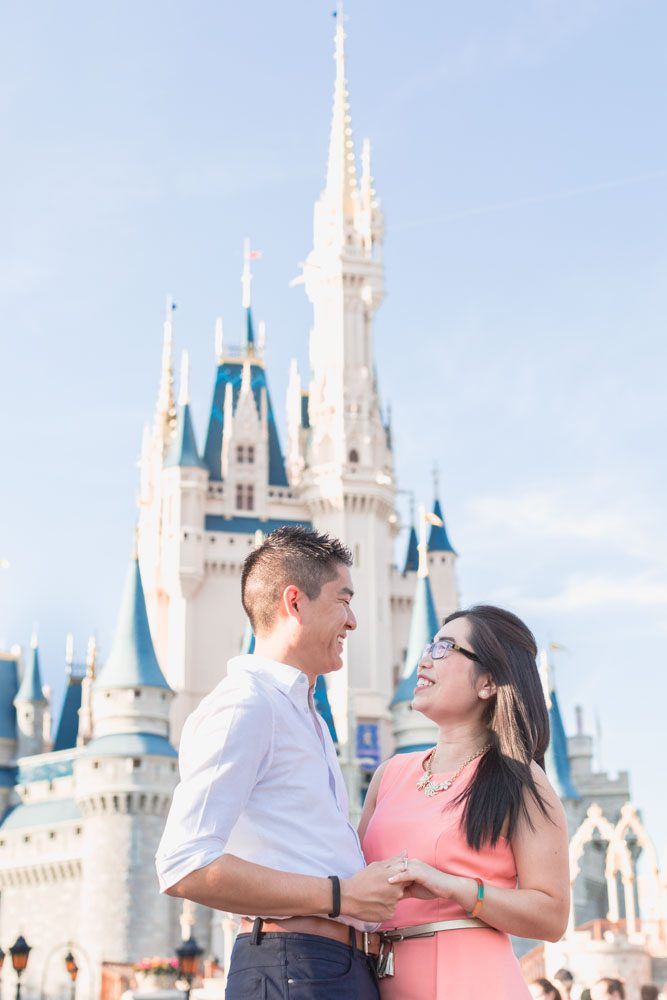 Engagement photography at Cinderella Castle in Magic Kingdom captured by top Orlando photographer