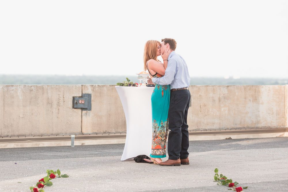 The Balcony rooftop venue in Orlando hosts a beautiful surprise proposal and engagement photography session at Sunset
