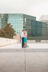 Orlando proposal photographer captures a romantic rooftop engagement session featuring the downtown skyline view from The Balcony rooftop venue