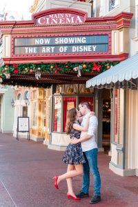 Engagement photo on Main Street USA at Magic Kingdom in Orlando